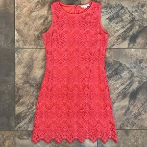 Coral crochet/lace overlay dress, size L juniors